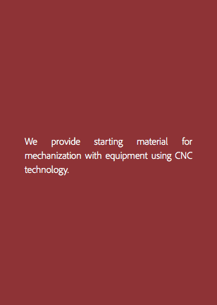We provide starting material for mechanization with equipment using CNC technology.
